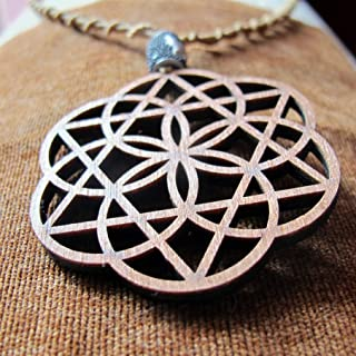 Long Boho Pendant Necklace Seed OF Life Eclipse, Sacred Geometry Jewelry