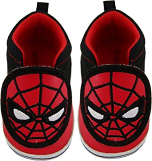 Marvel Avengers Spiderman Character Infant Boys Low Top Denim Sneakers, Red and Black, Age 3-12