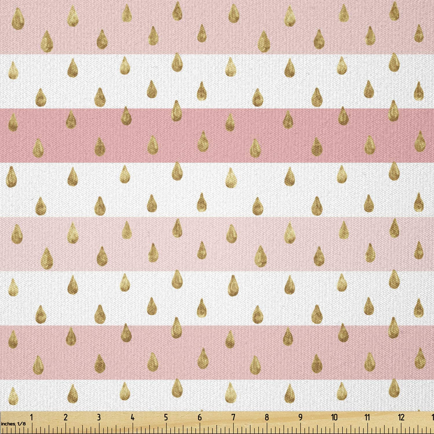 Ambesonne Rain Fabric Excellent by The Yard Horizontal and Pink Washington Mall Cro White