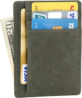 EKCIRXT Slim RFID Blocking Card Holder Minimalist Leather Front Pocket Wallet for Men or Women