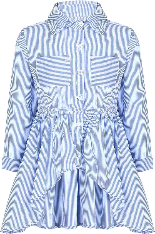 ranrann Kids Girls High Low Blouse Tops Stripe Lapel Button Down Shirts