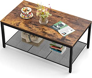 Industrial Coffee Table, Large Modern Coffee Table with Storage Shelf, Wood Living Room Table with Dense Mesh Shelf, Vinta...