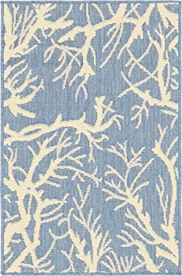 Unique Loom Outdoor Botanical Collection Abstract Pictorial Transitional Indoor and Outdoor Flatweave Blue Area Rug (2' 0 x 3' 0)