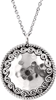 Circle' Hammered Swirl Pendant Necklace in Sterling Silver