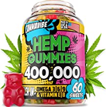 Hemp Gummies - 400,000, 60 Sweets - Stress, Insomnia & Anxiety Relief - Made in USA - Tasty & Relaxing Herbal Gummies - Premium Extract - Mood & Immune Support - Omega 3-6-9 Complex