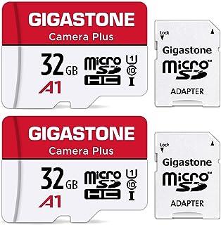 Gigastone マイクロSDカード 32GB Camera Plus フルHD 2Pack 2個セット メモリーカード 90MB/s 高速 Full HD動画 Micro SDHC U1 C10 2 SDアダプタ付 2 ミニ収納ケース付