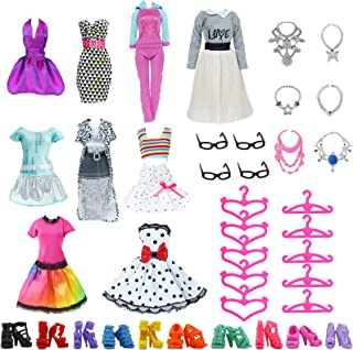 BJDBUS 38 pcs Doll Clothes and Accessories 8 Sets Fashion Clothes Dresses Casual Outfits, 10...