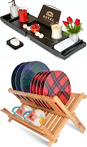 high quality ROYAL CRAFT WOOD high quality outlet sale Luxury Bathtub Caddy Tray and Dish Drying Rack outlet online sale