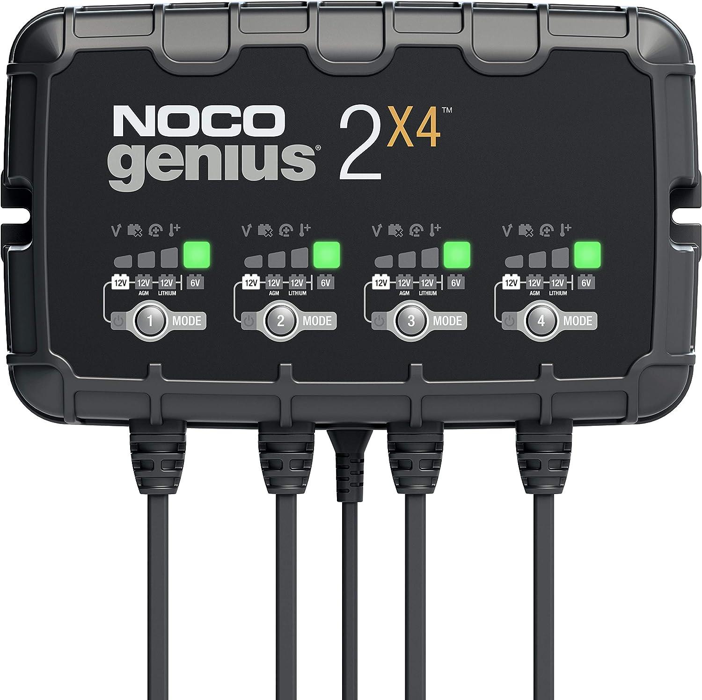NOCO GENIUS2X4, 8A (2A por banco) cargador de batería automático inteligente portátil de 6V y 12V, mantenedor de batería y desulfador para moto, scooter, auto, camión y caravana