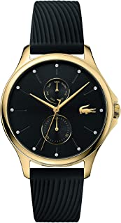 Lacoste Women's Kea Quartz Multifunction Yellow Gold IP and Rubber Strap Casual Watch, Color: Black (Model: 2001052)