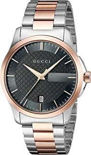 Gucci - Unisex Watch Hombre Relojes Cuarzo Reloj con Metal Banda G de Timeless analógico de Acero Inoxidable Revestido Blanco ya126446