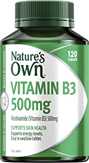 Nature's Own Vitamin B3 500mg - Supports energy levels - Supports skin health, 120 Tablets