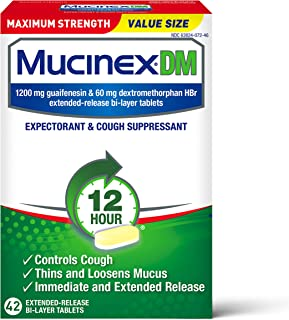 Cough Suppressant and Expectorant, Mucinex DM Maximum Strength 12 Hour Tablets, 42ct, 1200 mg Guaifenesin, Relieves Chest Congestion, Quiets Wet and Dry Cough, #1 Doctor Recommended OTC expectorant