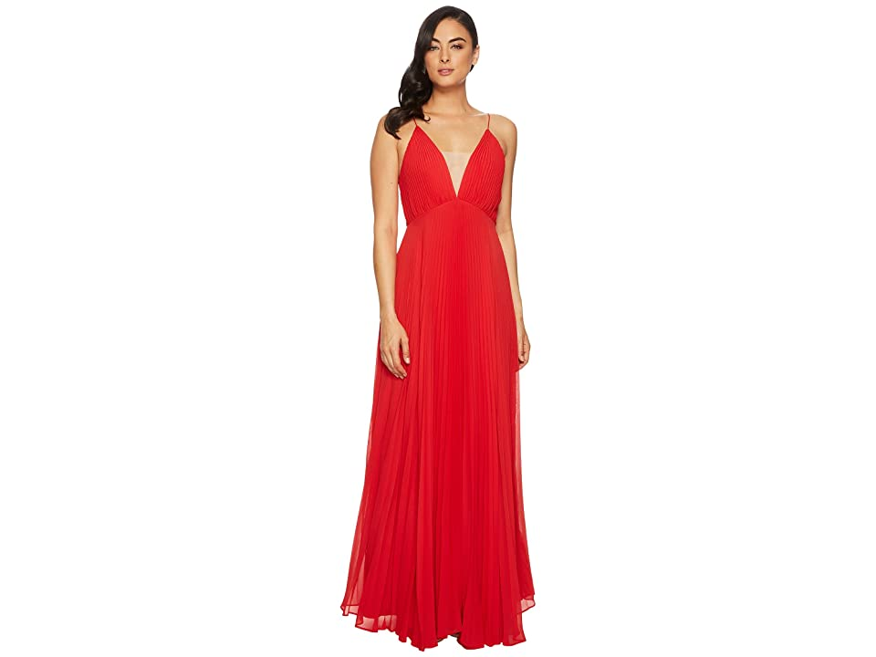 JILL JILL STUART Pleated Deep V Dress (Poppy Red/Nude) Women
