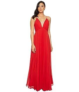 Pleated Deep V Dress