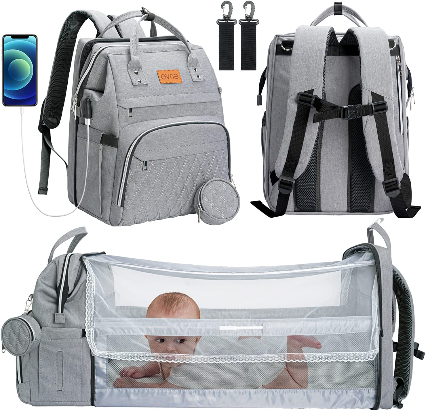 6 in 1 Diaper Bag Backpack with Changing Station, Diaper Bags for Baby Boys Girls,Portable Foldable Travel Bassinet with Changing Mat and Bed Net, Nappy Bag with Crib, Large Capacity Wide Open,Grey