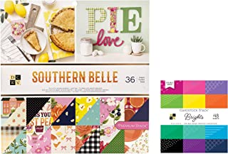 84 Sheets Mix of 12x12 Inch Country Scrapbook Paper and 6x6 Bright CardStock Paper | Colors, Southern, Floral, Vintage Theme | Heavy Card Stock for Origami, Cards, Invitations | 2 Stacks Set by DCWV