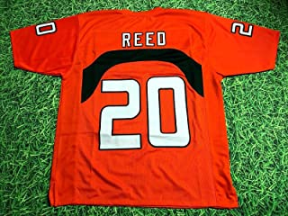 ED REED ORANGE MIAMI CUSTOM STITCHED NEW FOOTBALL JERSEY MEN'S XL