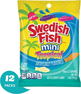 Swedish Fish Mini Tropical Fat Free Candy - 5 Ounce Bag (Pack of 12)