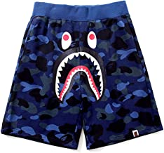 Athletic Pants Shark Pattern Hip hop Camouflage Stitching Shorts Men Drawstring Sports Shorts (Blue-3, XL)