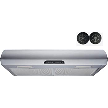 Amazon Com Winflo 30 In 480 Cfm Convertible Stainless Steel Under Cabinet Range Hood With Mesh Filters Charcoal Filters And Touch Sensor Control Appliances