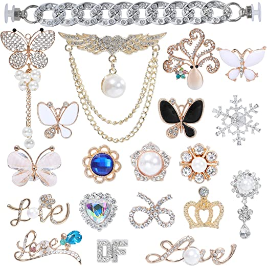 Shoe Charms for Girls Women, Clog Sandals Decoration, Faux Fashion Crystal Pearl Rhinestones DIY Decorative Shoe Buckles for Women Girl Party Favors Birthday Gifts