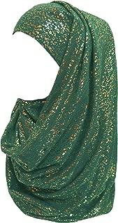 Gold Glitter Plain Color Hijab Muslim Head Wrap Scarf Shawl