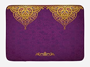 Ambesonne Purple Bath Mat, East Oriental Royal Palace Patterns with Bohemian Style Art Traditional Wedding, Plush Bathroom Decor Mat with Non Slip Backing, 29.5