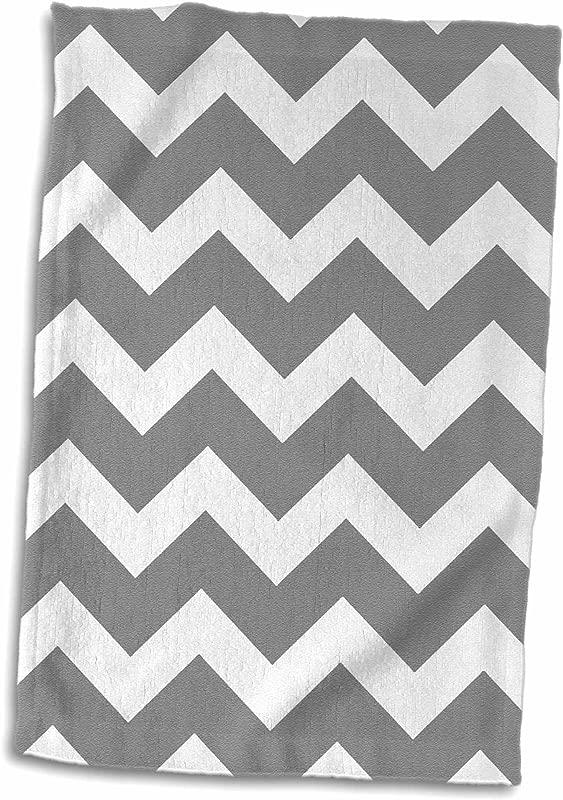 3D Rose Charcoal Grey And White Zig Zag Chevron Dark Gray Zigzag Pattern TWL 179676 1 Towel 15 X 22 Multicolor
