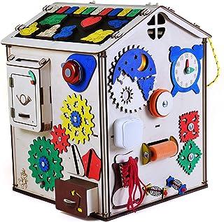 19 in 1 Cubo attività per Bambini , Montessori Giocattoli Prescolari in Legno Multifunzione Giochi, Regalo di Compleanno p...