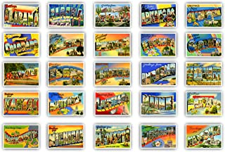 GREETINGS FROM 50 American states vintage reprints postcard set (ca. 1930-1940's). Large letter name postcards of each U.S. state. Post card variety pack. Made in USA.