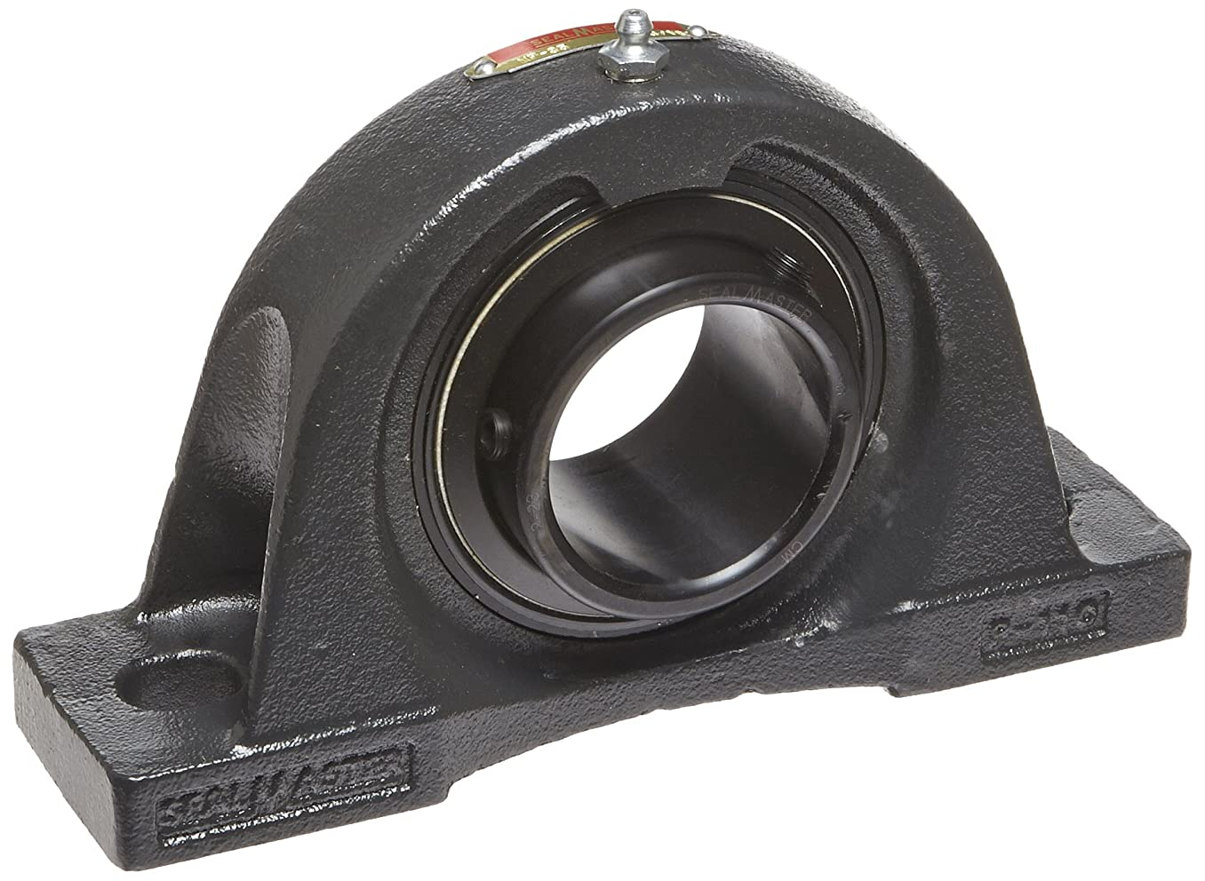 Sealmaster NP-35 Pillow Block Ball Bearing, Non-Expansion Type, Normal-Duty, Regreasable, Setscrew Locking Collar, Felt Seals, Cast Iron Housing, 2-3/16