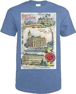 Great Britian - North British Railway Company Station Hotels in Perth, Edinburgh, and Glasgow 34435 (Heather Royal T-Shirt XX-Large)