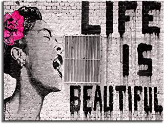 Wieco Art Banksy Life is Beautiful Modern Gallery Wrapped Grey Love Abstract Artwork Paintings Pictures Large Giclee Canva...