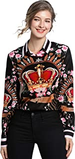 Women's Long Sleeves Button up Baroque Print Blouse Shirts