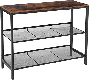 HOOBRO Console Table, Sofa Table with 2 Flat or Slant Adjustable Mesh Shelves, Hallway Table and Sideboard, for Entryway, Liv