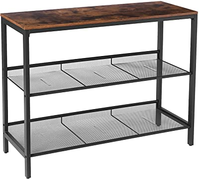 HOOBRO Console Table, Sofa Table with 2 Flat or Slant Adjustable Mesh Shelves, Hallway Table and Sideboard, for Entryway, Living Room, Corridor, Easy Assembly, Industrial, Rustic Brown BF01XG01