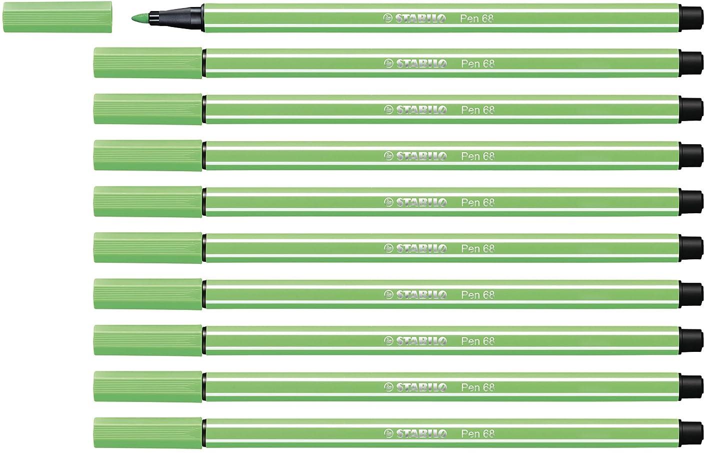 STABILO Pen 68 Light Emerald Pack of 10 - Premium Felt-tip Pen