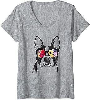 Womens Funny Hipster Boston Terrier Summer Flowers Sunglasses Gift V-Neck T-Shirt