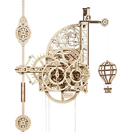 UGEARS Aero Clock 3D Wooden Puzzles for Adults and Kids - Laser-Cut 3D Puzzle Clock to Build - Elegant Outlook DIY Wooden Puzzle Mechanical Clock Kit - Wall Clock with Pendulum Wood Model Kit