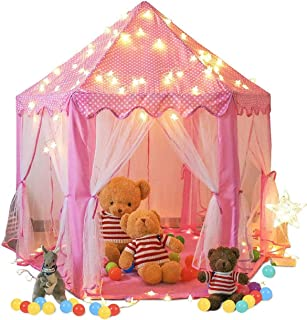 SpringBuds Kids Pink Princess Castle Play Tent, Large Children Playhouse for Girls, Play Tent with Star Lights for Children Indoor and Outdoor Games Child Toys, 55