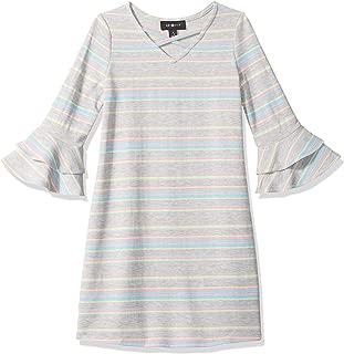 Amy Byer Girls' Big Bell Sleeve Knit A-line Dress