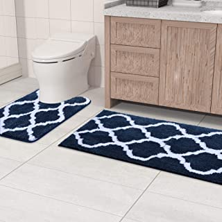 Olanly Bathroom Rugs Set 2 Piece Microfiber Bath Shower Mat and U-Shaped Toilet Rug, Machine Wash Dry, Non Slip Absorbent ...
