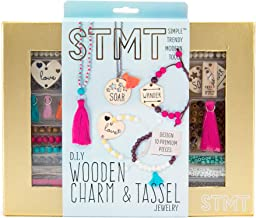 STMT DIY Wooden charm & Tassel Jewelry Art & Craft Kit by Horizon Group USA, Design & Create 10Piece of Vsco Girl Jewelry, Includes Wood Charms, Colorful Tassels, Beads, Chains & More, Multicolored