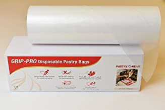 PastryGear Grip-Pro 21-Inch Anti-Slip Ultra Thick Disposable Pastry/Piping Bags with Dispenser (Roll of 100 Pcs)