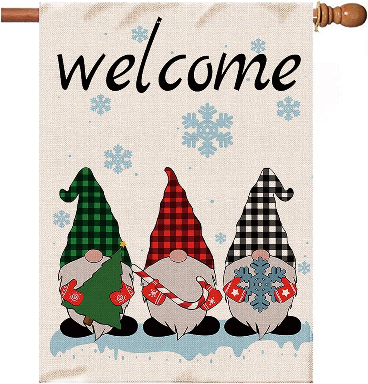 Hexagaram Gnomes Christmas Flags 28 x unisex Burlap Miami Mall Double Lar 40 Sided