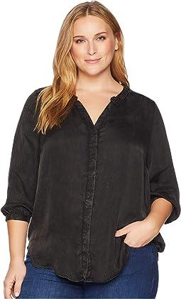 Plus Size Garment Dye Blouse w/ Studs