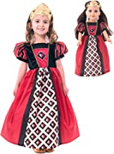 Little Adventures Queen of Hearts Dress Up Costume with Soft Crown & Matching Doll Dress (Large Age 5-7)