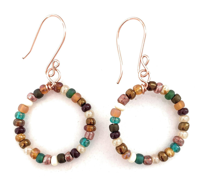 Trust Recommended Handmade Earthone Beaded Earrings Hoop Boho