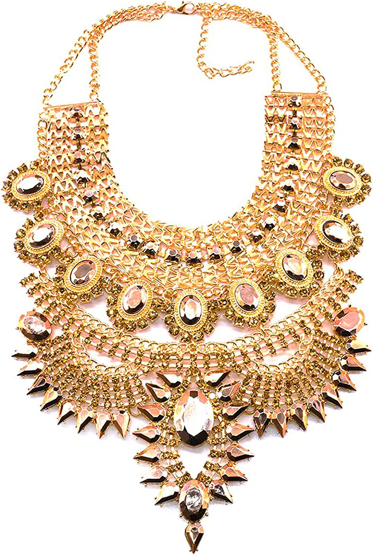 NABROJ Fashion Chunky Necklace Luxury Crystal Bib Collar Necklace Costume Wedding Jewelry for Women 8 Colors 1 Pc
